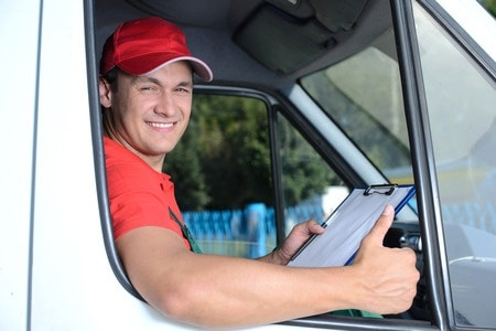 smiling delivery guy